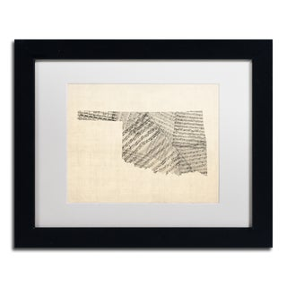 Michael Tompsett 'Old Sheet Music Map of Oklahoma' White Matte, Black Framed Canvas Wall Art