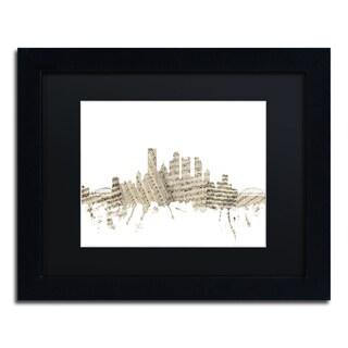 Michael Tompsett 'Pittsburgh Skyline Sheet Music' Black Matte, Black Framed Canvas Wall Art