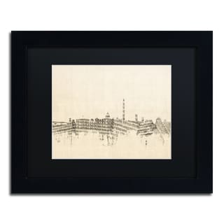 Michael Tompsett 'Washington DC Skyline Sheet Music' Black Matte, Black Framed Canvas Wall Art