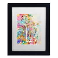 Michael Tompsett 'Chicago City Street Map II' White Matte, Black Framed Canvas Wall Art