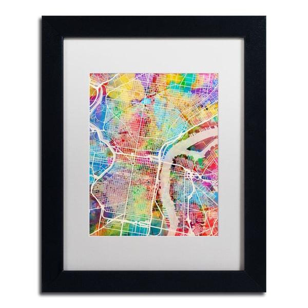 Michael Tompsett 'Philadelphia Street Map' White Matte, Black Framed Canvas Wall Art - White Matte/Black Frame