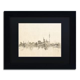 Michael Tompsett 'Berlin Skyline Sheet Music' Black Matte, Black Framed Canvas Wall Art