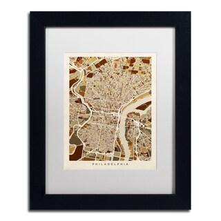 Michael Tompsett 'Philadelphia Street Map II' White Matte, Black Framed Canvas Wall Art