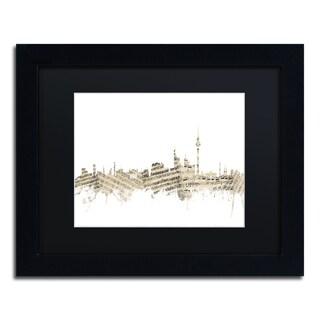 Michael Tompsett 'Berlin Skyline Sheet Music II' Black Matte, Black Framed Canvas Wall Art