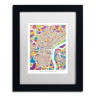 Michael Tompsett 'Philadelphia Street Map III' White Matte, Black Framed Canvas Wall Art