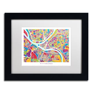 Michael Tompsett 'Pittsburgh Street Map II' White Matte, Black Framed Canvas Wall Art