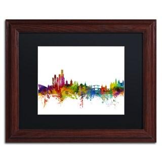 Michael Tompsett 'Amsterdam Skyline II' Black Matte, Wood Framed Canvas Wall Art