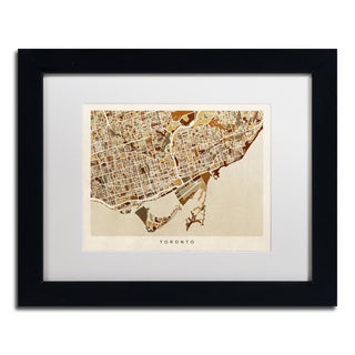 Michael Tompsett 'Toronto Street Map II' White Matte, Black Framed Canvas Wall Art