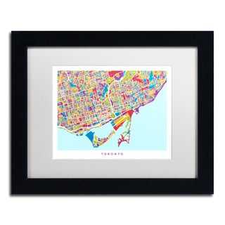 Michael Tompsett 'Toronto Street Map III' White Matte, Black Framed Canvas Wall Art