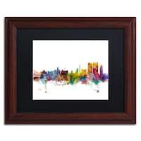 Michael Tompsett 'Calcutta India Skyline' Black Matte, Wood Framed Canvas Wall Art