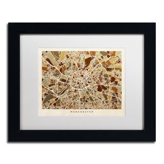 Michael Tompsett 'Manchester England Street Map II' White Matte, Black Framed Canvas Wall Art