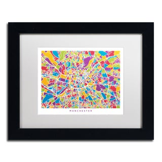 Michael Tompsett 'Manchester England Street Map III' White Matte, Black Framed Canvas Wall Art