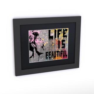 Banksy 'Life is Beautiful' Black Matte, Black Framed Canvas Wall Art