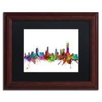 Michael Tompsett 'Melbourne Skyline II' Black Matte, Wood Framed Canvas Wall Art