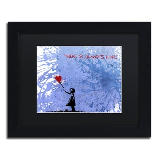 Banksy 'There Is Always Hope' Black Matte, Black Framed Canvas Wall Art