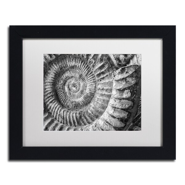 Moises Levy 'Amonita 1' White Matte, Black Framed Canvas Wall Art