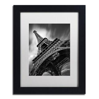 Moises Levy 'Eiffel Tower Study II' White Matte, Black Framed Canvas Wall Art