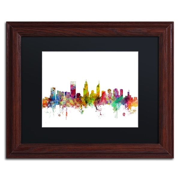 Michael Tompsett \'Perth Australia Skyline\' Black Matte, Wood Framed ...