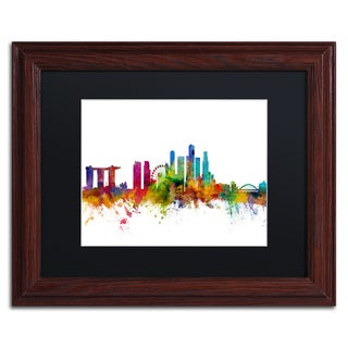 Michael Tompsett 'Singapore Skyline II' Black Matte, Wood Framed Canvas Wall Art