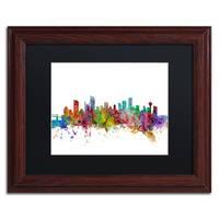 Michael Tompsett 'Vancouver Canada Skyline' Black Matte, Wood Framed Canvas Wall Art