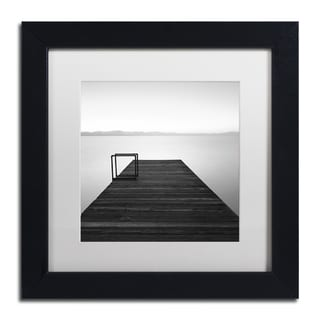 Moises Levy 'Cube' White Matte, Black Framed Canvas Wall Art
