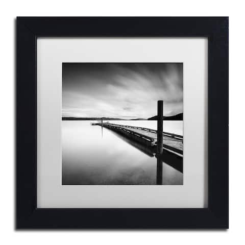Moises Levy 'Stand By' White Matte, Black Framed Canvas Wall Art