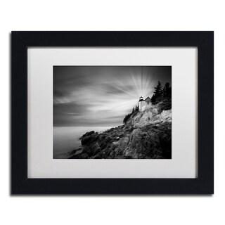 Moises Levy 'Bass Harbor Lighthouse' White Matte, Black Framed Canvas Wall Art