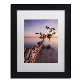 Moises Levy 'Water Tree IV' White Matte, Black Framed Canvas Wall Art