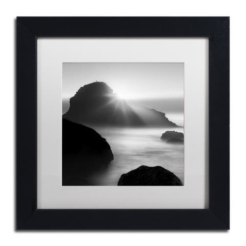 Moises Levy 'Long Sunset at Indian Beach' White Matte, Black Framed Canvas Wall Art