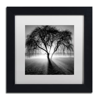 Moises Levy 'Lightning Tree I' White Matte, Black Framed Canvas Wall Art