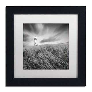Moises Levy 'Yaquina Lighthouse III' White Matte, Black Framed Canvas Wall Art