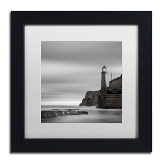 Moises Levy 'Morro Lighthouse' White Matte, Black Framed Canvas Wall Art - White Matte/Black Frame