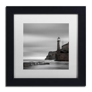 Moises Levy 'Morro Lighthouse' White Matte, Black Framed Canvas Wall Art - White Matte/Black Frame