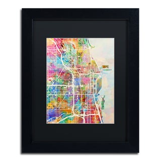 Michael Tompsett 'Chicago City Street Map II' Black Matte, Black Framed Canvas Wall Art