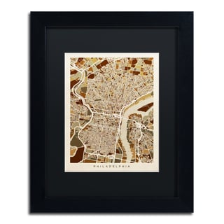 Michael Tompsett 'Philadelphia Street Map II' Black Matte, Black Framed Canvas Wall Art