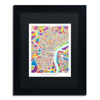 Michael Tompsett 'Philadelphia Street Map III' Black Matte, Black Framed Canvas Wall Art