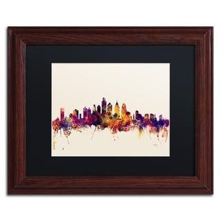 Michael Tompsett 'Philadelphia Skyline IV' Black Matte, Wood Framed Canvas Wall Art