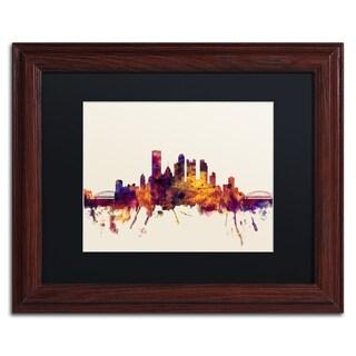 Michael Tompsett 'Pittsburgh Skyline IV' Black Matte, Wood Framed Canvas Wall Art