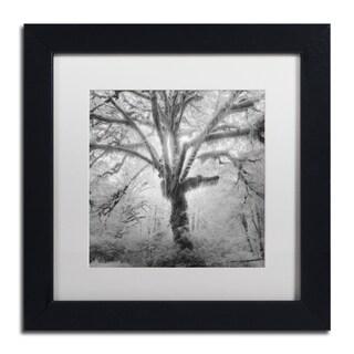 Moises Levy 'Lightning Tree II' White Matte, Black Framed Canvas Wall Art