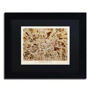 Michael Tompsett 'Manchester England Street Map II' Black Matte, Black Framed Canvas Wall Art