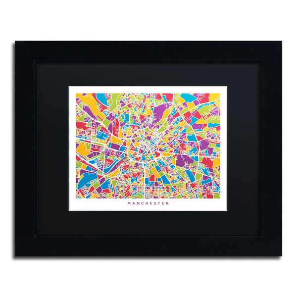 Michael Tompsett 'Manchester England Street Map III' Black Matte, Black Framed Canvas Wall Art