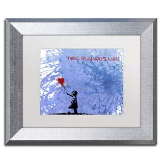Banksy 'There Is Always Hope' White Matte, Silver Framed Canvas Wall Art