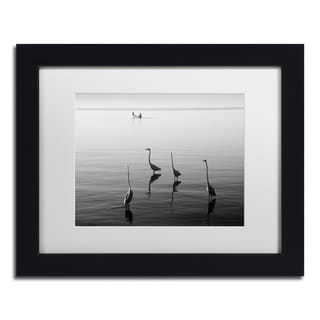 Moises Levy '4 Herons and Boat' White Matte, Black Framed Canvas Wall Art