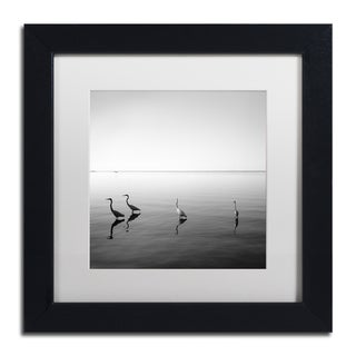 Moises Levy '4 Herons' White Matte, Black Framed Canvas Wall Art