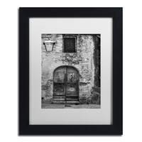 Moises Levy 'San Gimignano Door' White Matte, Black Framed Canvas Wall Art