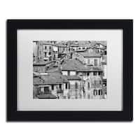Moises Levy 'San Gimignano Texture' White Matte, Black Framed Canvas Wall Art