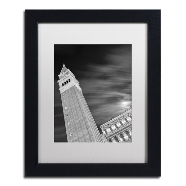 Moises Levy 'San Marco Sky' White Matte, Black Framed Canvas Wall Art