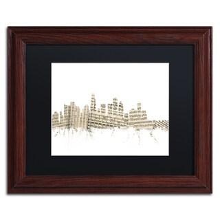 Michael Tompsett 'Los Angeles Skyline Sheet Music' Black Matte, Wood Framed Canvas Wall Art