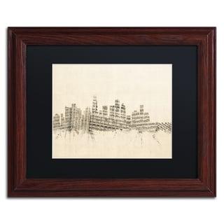 Michael Tompsett 'Los Angeles Sheet Music II' Black Matte, Wood Framed Canvas Wall Art