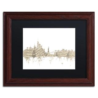 Michael Tompsett 'New York Skyline Sheet Music' Black Matte, Wood Framed Canvas Wall Art